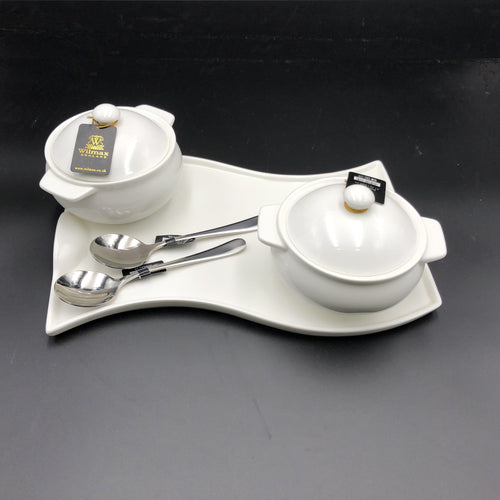 Set Of 2 Individual Baking Pots With A Soup Spoon And Curved Serving Dish Set For 2 WL-555013