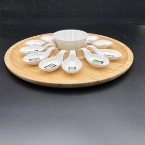 Large Party Serving Tray With 12 Shooter Spoons And Condiments Dish For The Center WL-555015