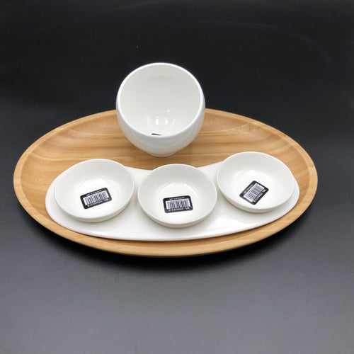 A Mignardises (Petit Four) Serving Set With Bamboo Oval Tray And Porcelain Dishes To Match WL-555023