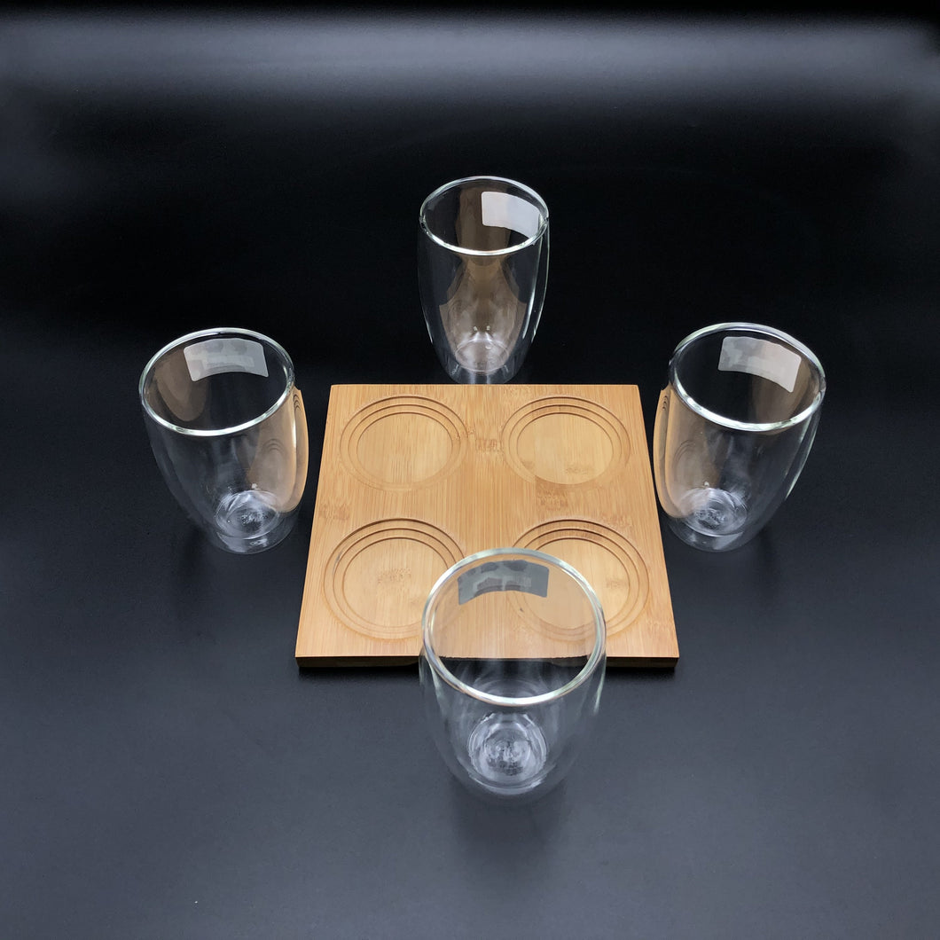 A Set Of A 4 Section Bamboo Tray With 4 Doublewalled Thermo Glasses To Match WL-555030
