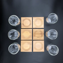 A Set Of 6 Bamboo Coaters/  Trays With 6 Doublewalled Thermo Glasses To Match WL-555031