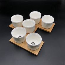 A Set Of 3 Bamboo Double Trays With 6 Fine Porcealin Ramekins To Match WL-555032