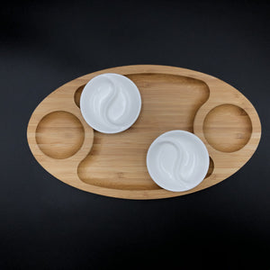 Fine Porcelain And Bamboo Serving Tray Combo Set With A Yin Yang 2 Section Saucer WL-555035