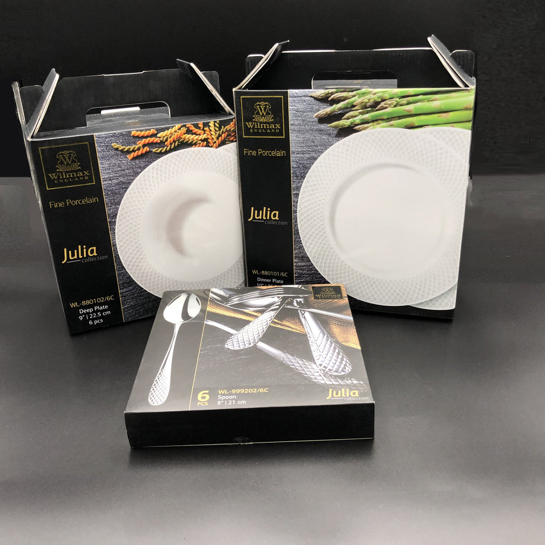 Fine Julia Porcelain Deep Plate Dinnerware Set For 6 Including 10