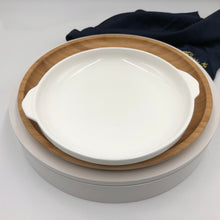 Set Of 3 Bamboo And Fine Porcelain Round Baking Dish/plate Setting WL-555067