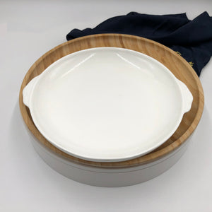 Bamboo And Fine Porcelain Round Baking Dish/plate Setting WL-555065