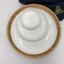 Bamboo And Fine Porcelain 3 Section Divided Dish/plate Setting WL-555070