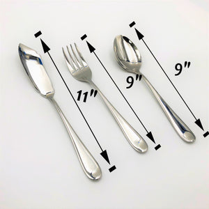 Stainless Steel Serving Fork And Knife And A Large Fish Knife Set Of 3 Pieces Great For Entertaining WL-555049