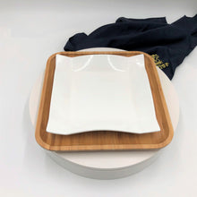 Square Bamboo And Fine Porcelain Contemporary Dinnerware Set  WL-555077