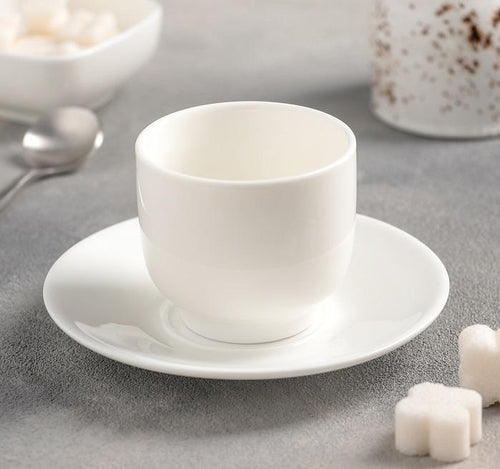 [C *] Fine Porcelain 5 Oz | 150 Ml Tea Cup & Saucer WL-993021AB