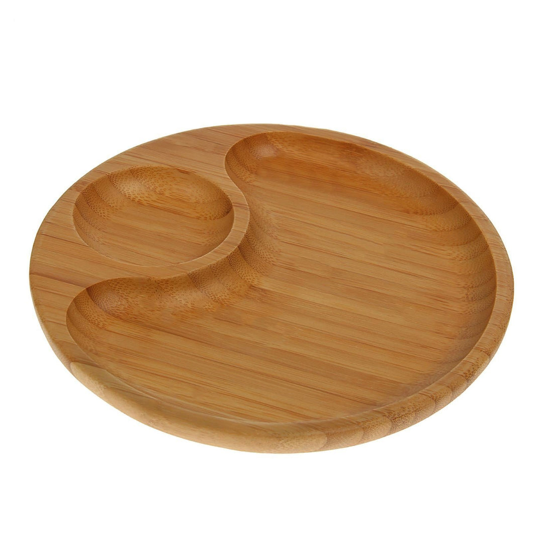 [A] Natural Bamboo 2 Section Platter 8