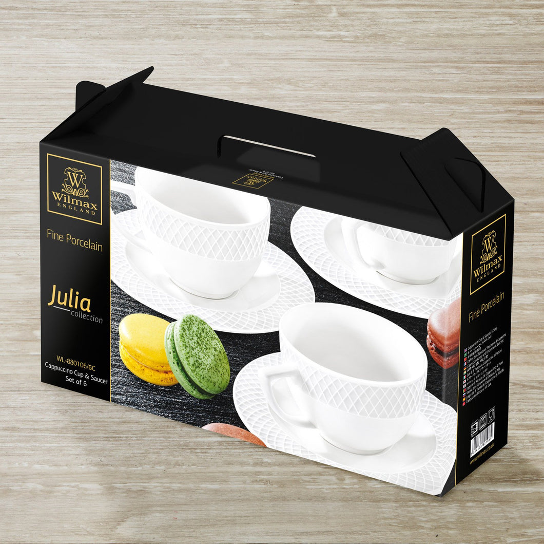 6 OZ | 170 ML CAPPUCCINO CUP & SAUCERSET OF 6 IN COLOUR BOX - WILMAX PORCELAIN WILMAX