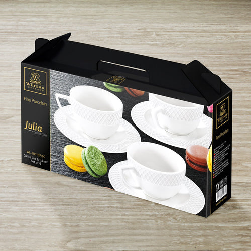 3 OZ | 90 ML COFFEE CUP & SAUCERSET OF 6 IN COLOUR BOX - WILMAX PORCELAIN WILMAX