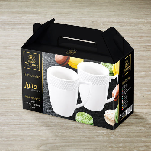 [A] Fine Porcelain Mug 12 Oz | 350 Ml Set Of 2 In Gift Box WL-880108/2C