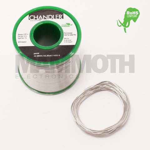 CHANDLER SN99/AG0.3/CU0.7 RoHS (Green) Solder (10ft) - Mammoth Electronics