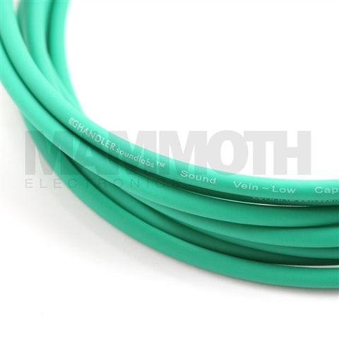 <b>Sound Vein Instrument Cable</b><br>4mm - Green<br>Low Capacitance<br><i>Chandler Sound</i> - Mammoth Electronics