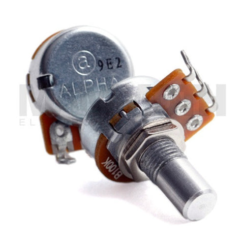<b>Alpha Potentiometer</b><br>Logarithmic (A)<br>16mm Single Gang<br>Solder Lug - Mammoth Electronics