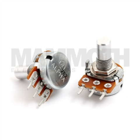 <b>Alpha Potentiometer</b><br>Logarithmic (A)<br>16mm Single Gang<br>PCB Mount<br><i>Vertical</i> - Mammoth Electronics