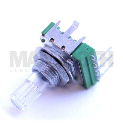 Alpha Right Angle Clear Shaft Potentiometers (For LEDs) - Logarithmic (A) - Mammoth Electronics