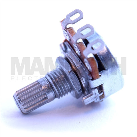 <b>Alpha Potentiometer</b><br>Linear (B)<br>16mm Single Gang<br>Solder Lug<br><i>Knurled Shaft</i> - Mammoth Electronics