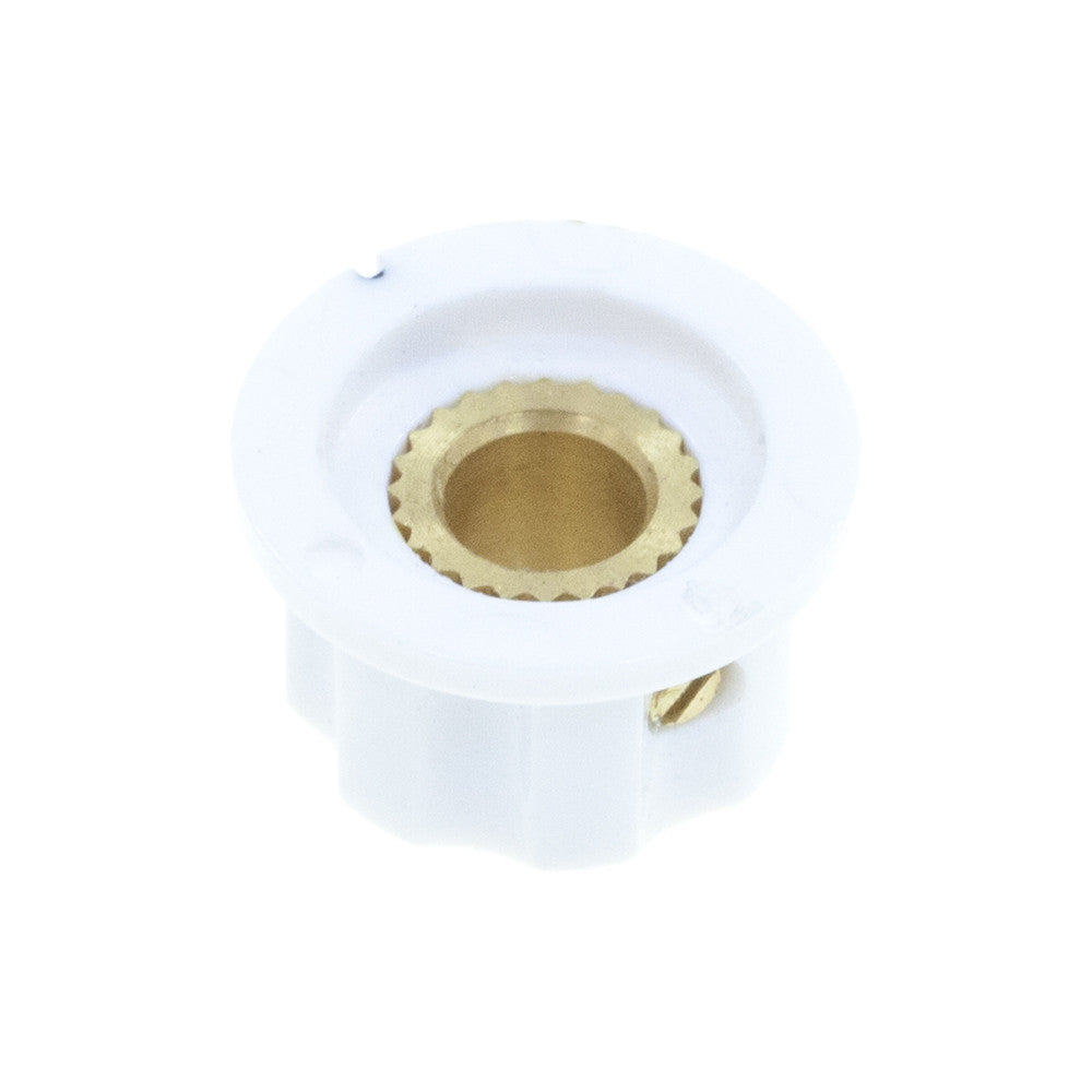 1360SWH-ABS Fluted Mirror Cap White Knob (15.3 x 11.7mm) - Mammoth Electronics