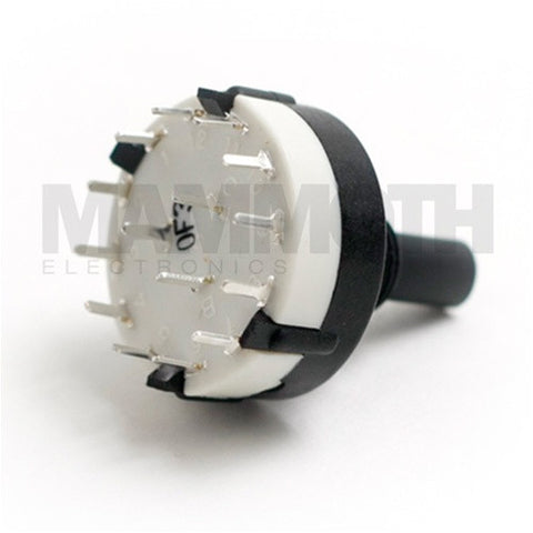 <b>Alpha Rotary Switch</b><br>2-12 Position<br>Single Pole<br><i>PCB Mount</i> - Mammoth Electronics