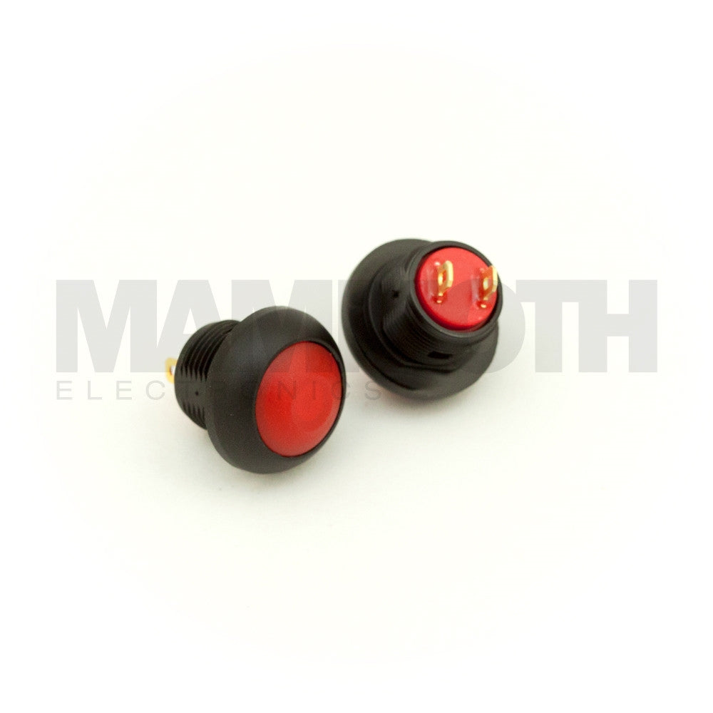 SPST-PBS-RRD (Single Pole Single Throw Momentary Switch with Red Button & Plastic Casing) - Mammoth Electronics
