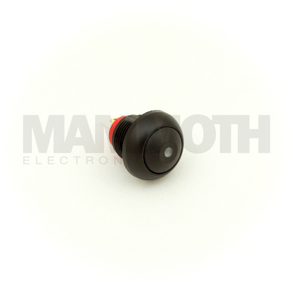 SPST-PBS-RBKRD (Single Pole Single Throw Switch with Black Button (Red LED) (Plastic Casing) - Mammoth Electronics