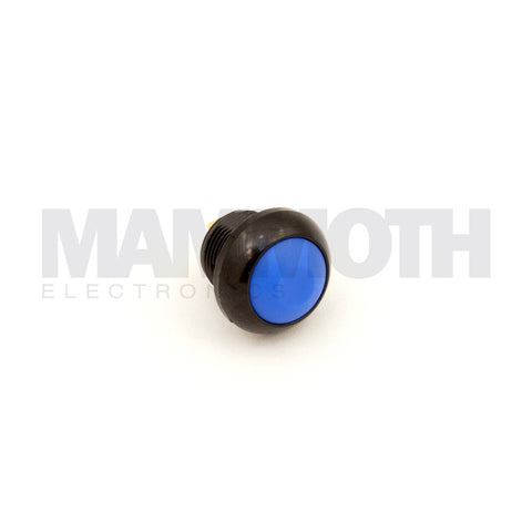 SPST-PBS-RBL-AL (Single Pole Single Throw Momentary Switch with Blue Button & Black Aluminum Casing) - Mammoth Electronics