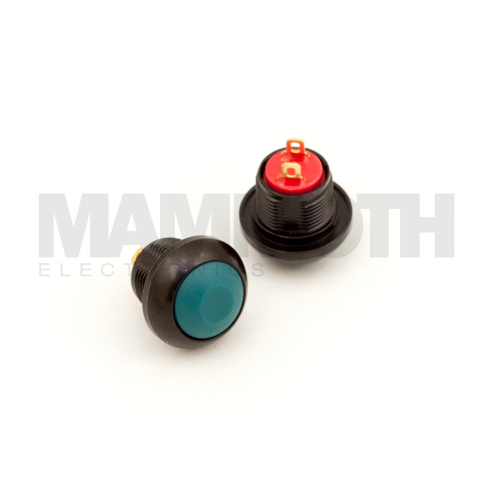 SPST-PBS-RGR-AL (Single Pole Single Throw Momentary Switch with Green Button & Black Aluminum Casing) - Mammoth Electronics