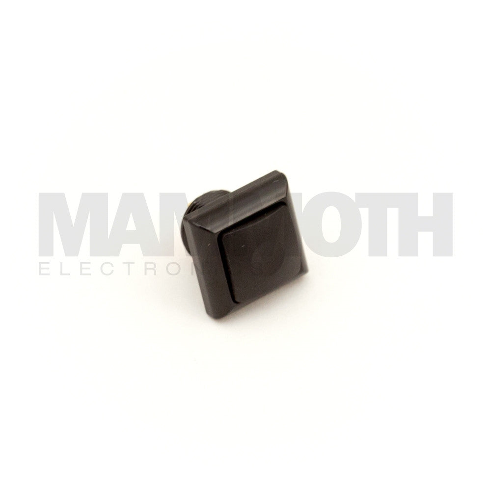 Square Single-Pole, Single-Throw Momentary Switch with Black Button & Aluminum Casing - Mammoth Electronics