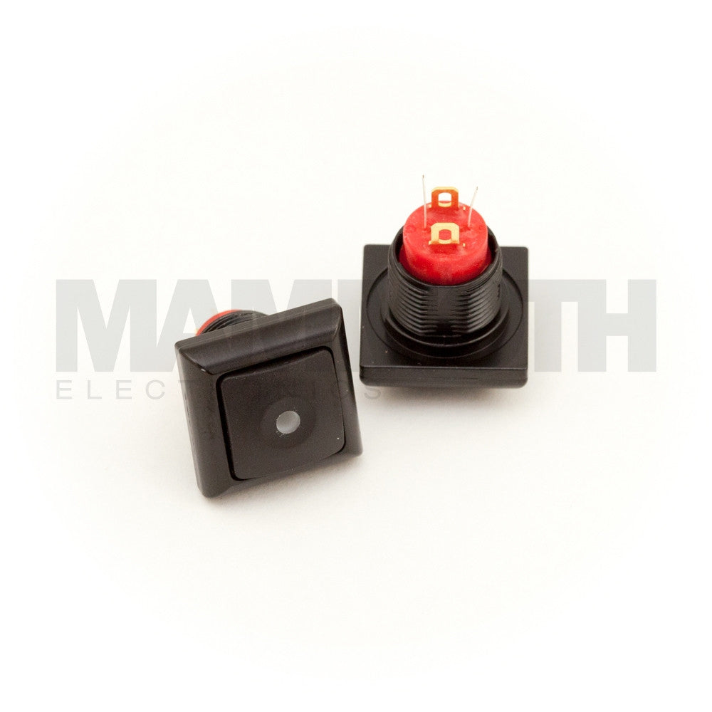 SPST-PBS-SBKGN-AL (Single-Pole, Single Throw Momentary Switch with Green LED & Aluminum Casing) - Mammoth Electronics