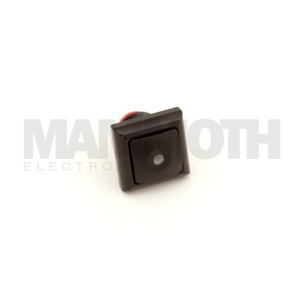 SPST-PBS-SBKRD-AL (Single-Pole, Single Throw Momentary Switch with Red LED & Aluminum Casing) - Mammoth Electronics