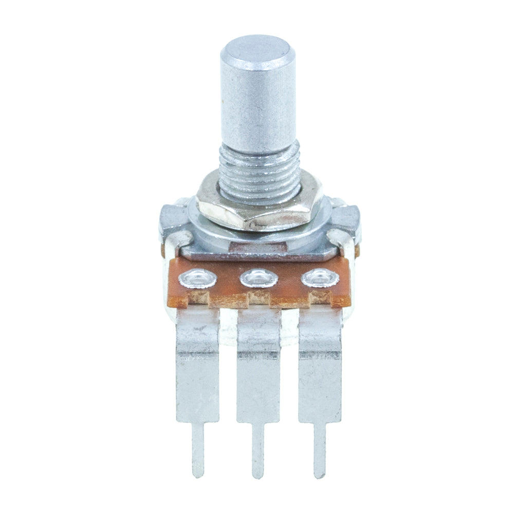 <b>Mammoth or Alpha Potentiometer</b><br>Logarithmic (A)<br>16mm Single Gang<br>PCB Mount<br><i>90° Short Pin</i>
