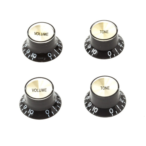 Gibson Style Top Hat Guitar Knobs - Black/Gold (Set of 4) - Mammoth Electronics