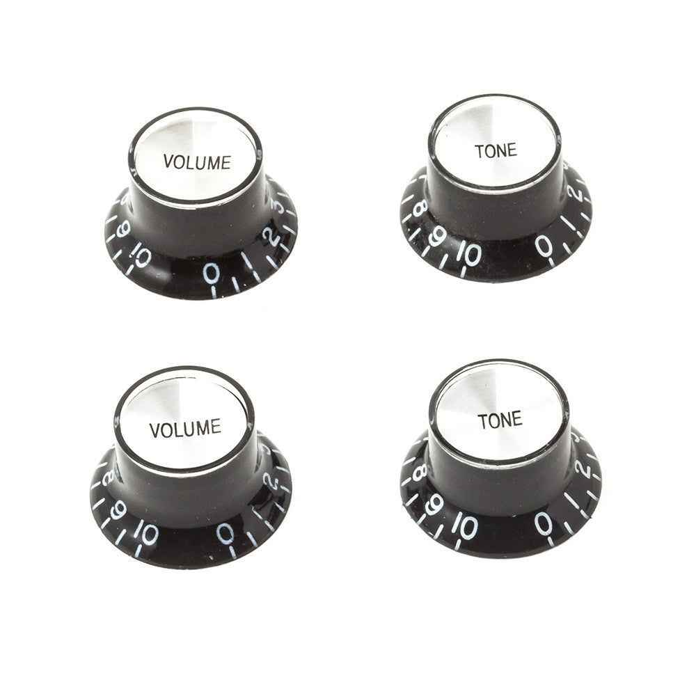 Gibson Style Top Hat Guitar Knobs - Black/Silver (Set of 4) - Mammoth Electronics