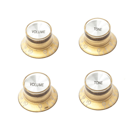 Gibson Style Top Hat Guitar Knobs - Gold/Silver (Set of 4) - Mammoth Electronics