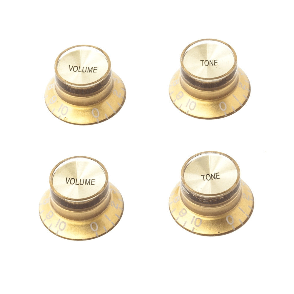 Gibson Style Top Hat Guitar Knobs - Gold/Gold (Set of 4) - Mammoth Electronics
