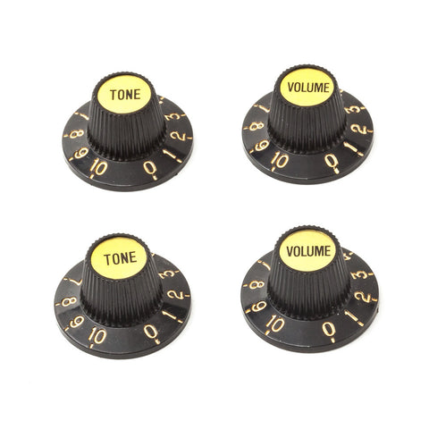 Fender Style Witch Hat Guitar Knobs - Black/Gold (Set of 4) - Mammoth Electronics