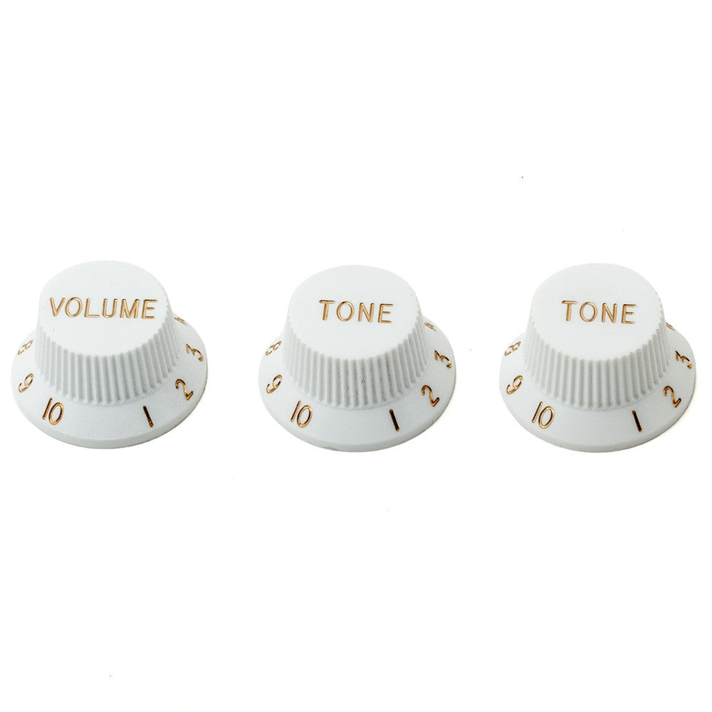 Fender Style Strat Guitar Knobs - White (Set of 3) - Mammoth Electronics