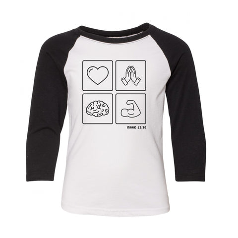 Black Emoji baseball tee