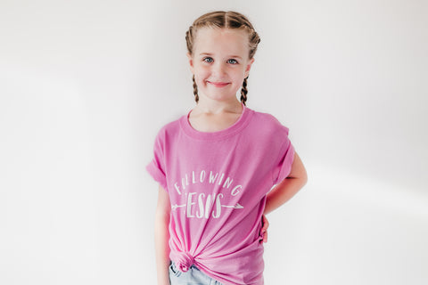 PINK Following Jesus - Youth Shirt