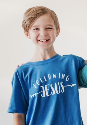 BLUE Following Jesus - Youth Shirt