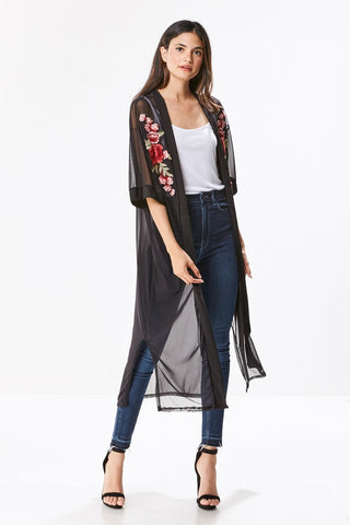 PRINTED KNIT WOOD BUTTON DOWN TIE FRONT CARDIGAN
