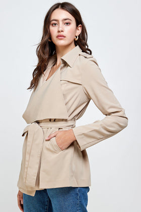Draped Collar Trench Coat Jacket Top