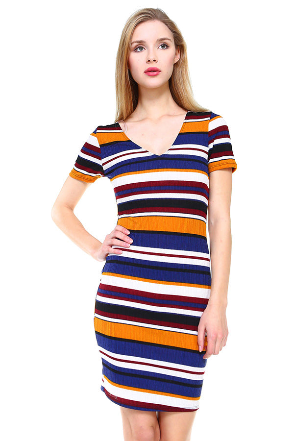 MILEY AND MOLLY MILEY+MOLLY Multi Stripe V-Neck Short Sleeve Dress