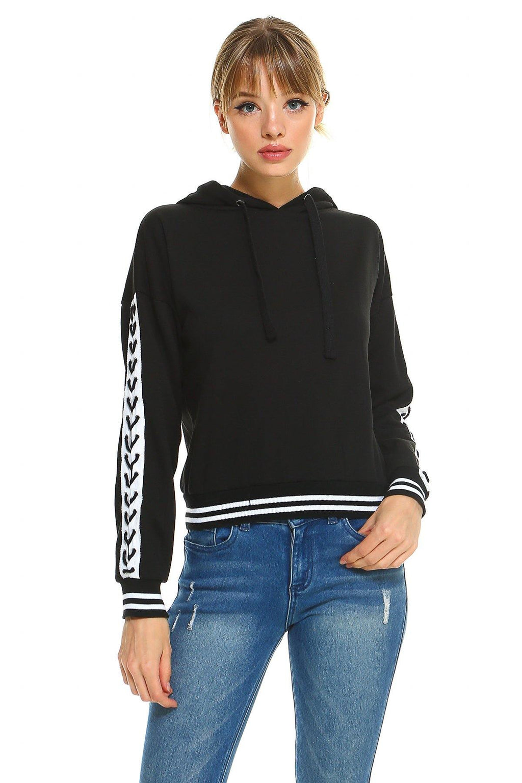 MILEY AND MOLLY MILEY + MOLLY  Fleece Lace Up Detail Sleeve Hooded Top