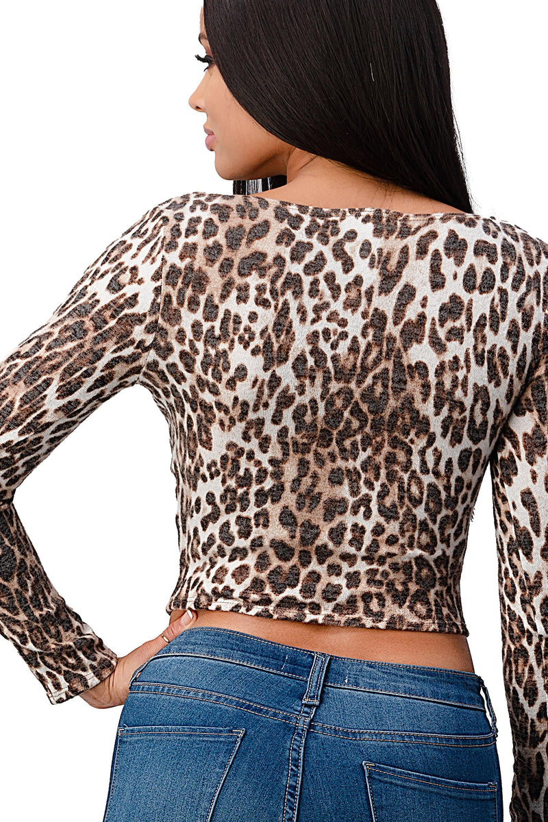 Blushed Knit Leopard Animal Surplice Top