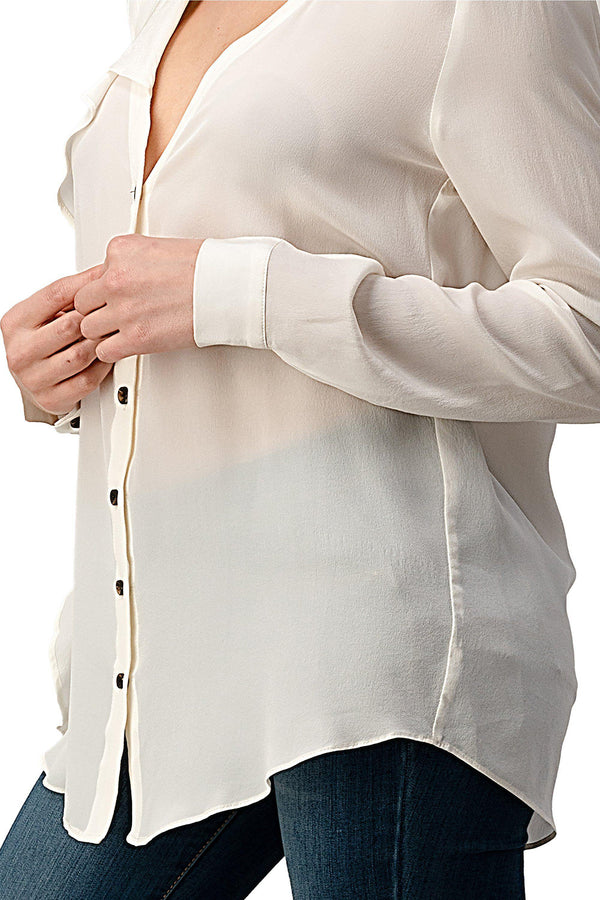 Ruffled Neck Button Front Shirts With Long Sleeves