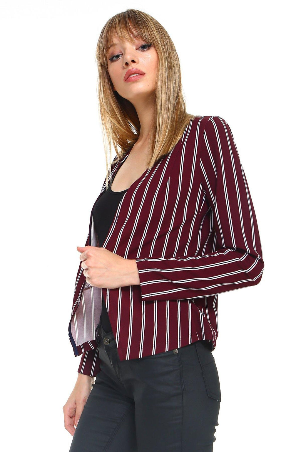 MILEY AND MOLLY Stripe Zipper Detail Blazer